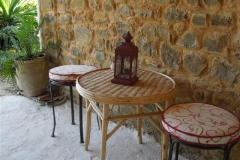 Patio Table, Stools & Lamp - Khanfous Retreat - Holiday Rental - Asilah Morocco (Small)